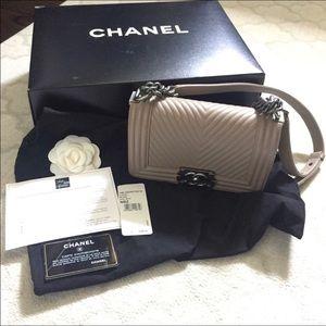 Chanel small gray/tan boy bag 100% authentic